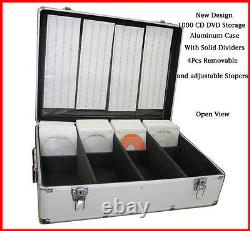 1000 CD DVD Silver Aluminum Media Storage Case Mess-Free Holder Box with Sleeves