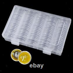 100Pcs Coin Capsules Case Bins with Storage Organizer Box for Coin Collector