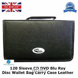 10 x 120 Sleeve CD DVD Blu Ray Disc Wallet Holder Bag Storage Carry Case Leather