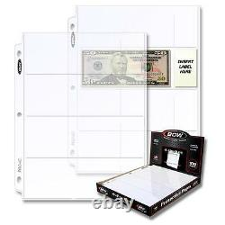 1 Case of 1000 BCW 4 Pocket Pages Currency Regular Bill Storage Holders
