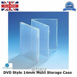 200 x Ultra Clear DVD Style 14mm Spine Multi Storage Case Without Disc Holder HQ
