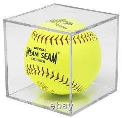 (24) Softball 2 Piece Design Square Clear Cube Storage Display Case Holders