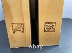 2 Napa Valley Box Company Wood 100 Cassette Tape Wall Rack Case Storage Holder