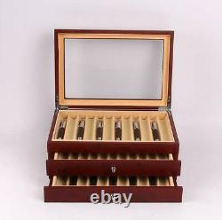 34 Slots Fountain Pen Wood Display Case Holder Storage Collector Box Red