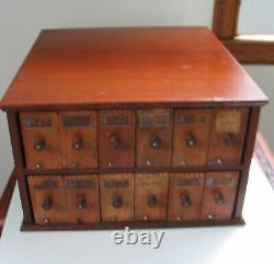 A. N. Russell Practical Glove Holder 12 Wooden Drawers Store Case Ilion NY