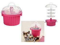 Hot Pink 3 Tier Cupcake Holder Carrier Storage Case Holds 24 Cupcakes