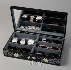 Mother of Pearl Peacock Sunglass Box Eyeglasses Jewelry Storage Show Case Holder