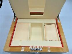 OMEGA Watch Wood Gift Box Case Storage Empty Genuine with Booklet & Card Holder