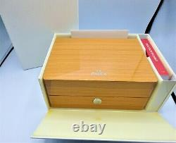 OMEGA Watch Wood Gift WithBox Case Storage Empty Genuine with Booklet Card Holder