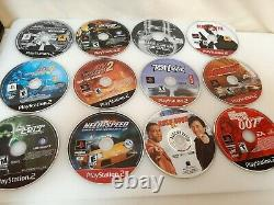 PS2 CD/DVD Lot Storage Holder Carrying Case with22 PS2 DVD's used #H287