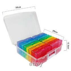 Photo Case Stackable Home Space Saver Photos Storage Box Holder Container