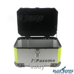 Silver Aluminum Motorcycle Luggage Trunk Top Lock Case Storage Tail Box Holder