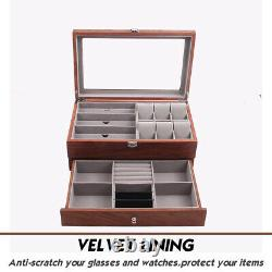 Watch Glasses Display Case Grids Storage Box Jewelry Collection Case Holder